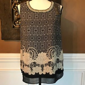 Rose & Olive Beaded Neck Tank Top